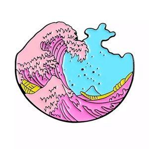4/$20 The Great Pink Wave Enamel Brooch Pin